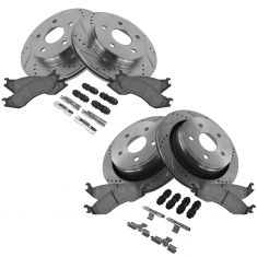 02-05 Dodge Ram 1500;04-06 Durango Front & Rear Performance Brake Rotor & Ceramic Pad w/Hardware Kit