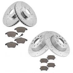 05-12 Audi, VW Multifit Front & Rear Ceramic Pad & Performance Brake Rotor Set of 4