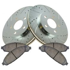 03-11 Crown Vic, Town Car Front Ceramic Brake Pad & Performance Cross Drilled Slotted Rotor Kit