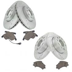 VW Jetta Golf Rabbit Nakamoto Front & Rear Premium Posi Ceramic Brake Pad & Performance Rotor Kit