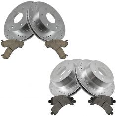 02-06 Chevy Avalanche Front & Rear Pefromance Brake Rotor & Ceramic Pad Kit