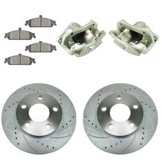 97-03 Chevy Malibu NEW Front Brake Caliper, Ceramic Pad & Peformance Rotor Kit