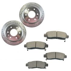2002-06 Rainer Ascender Envoy Trailblazr Rear Premium Posi Semi Metallic Pad & Performance Rotor Kit