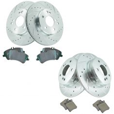 01-05 C240; 02-05 C230 Front & Rear Premium Posi Ceramic Brake Pad & Performance Rotor Kit