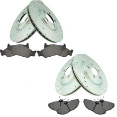 02-05 T-Bird; 00-05 S-Type; 00-06 LS Front & Rear Posi Ceramic Brake Pad & Performance Rotor Kit
