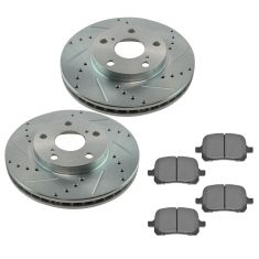 92-04 Camry Avalon ES300 Front Metallic Brake Pad & Performance Drilled Slotted Rotor Kit