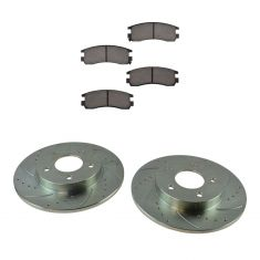 92-05 Buick Olds 92-99 Cadillac 00-05 Pontiac Rear Premium Posi Ceramic Pad & Performance Rotor Kit