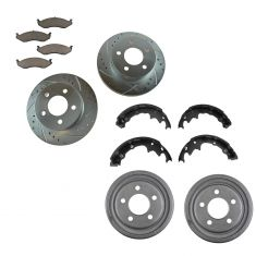 Jeep Multifit Front & Rear Permium Posi Ceramic Brake Pads, Drums, Shoes & Performance Rotor Kit