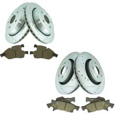 11-14 Durango 11-14 Jeep Front & Rear Premium Posi Ceramic Brake Pad & Performance Rotor Kit