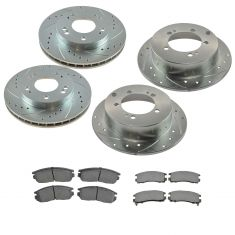 01-05 Sebring; 01-05 Stratus; 02-03 Galant Front & Rear Metallic Brake Pad & Performance Rotor Kit