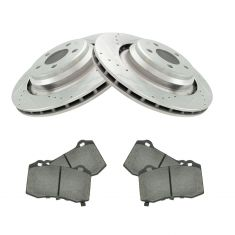 Dodge Chrysler Multifit Rear Premium Posi Ceramic Brake Pad & Performance Rotor Kit