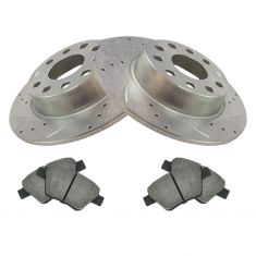 VW Audi Multifit Rear Premium Posi Ceramic Brake Pad & Performance Rotor Kit