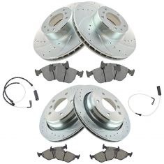 01-03 530i; 00-03 540i; Front & Rear Premium Posi Metallic Pad, Performance Rotor & Wear Sensor Kit