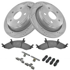 2005 2006 2007-2016 Dodge Ram 1500 Rear Brake Pads w/HW and Rotors Drill Slotted