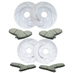 Chrysler; Dodge; VW Front & Rear Premium Posi Ceramic Brake Pads & Performance Rotor Kit