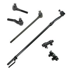86-96 Ford Bronco, F150; 86-97 F250, F350 2WD Center Link, Tie Rod End, & Adj Sleeve Kit (Set of 6)