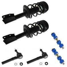 99-05 Grand Am, 97-03 Malibu Front Q-Strut, Outer Tie Rod, Sway Link Kit