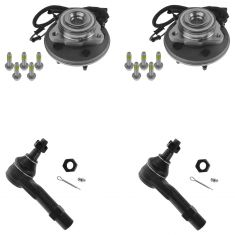02-03 Ford Explorer; Mercury Mountaineer 4 Piece Front Hub & Outer Tie Rod End Kit