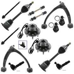 07-14 GM Full Size SUV & Truck 1500 w/4WD Complete Frt Stg, Hub, Axle Suspention Kit (14 Piece Set)