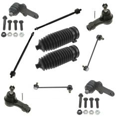 00-04 Ford Focus Front Lower Balljoint w/In & Out Tie Rod, Bellow & Sway Bar Link Kit (10 Piece Set)