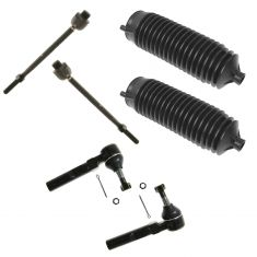 99-07 Chevy Silverado 1500, GMC Sierra 1500 2WD Front Inner & OuterTie Rod End w/ Rack Boots