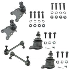 04-12 Colorado; Canyon (w/ torsion bar); 07-08 Isuzu I370 Front Ball Joint & Sway Bark Link Set of 6