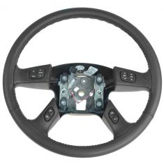 04-07 Rainier; 03-06 Cadillac; 03-09 Chevy, GMC; 03-08 H2 Blk Leather Steering Wheel w/Switches (GM)