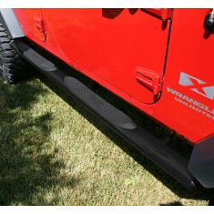 4 1/4-inch Oval Tube Side Steps, Black, 07-14 Wrangler Unlimited (JK)