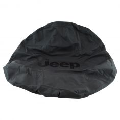 97-16 Wrangler (w/P245/75R16 Tire) Black ~Jeep~ Logoed Premium Black Denim Spare Tire Cover (MP)