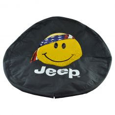 97-16 Wrangler (w/33X12.50R15 Tire) ~Only In A Jeep w/Smiley Face~ Logo Blk Denim Spre Tire Cvr (MP)