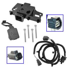 07-15  Jeep Wrangler (2 & 4 Dr) Trailer Tow Hitch Receiver w/4-Way Wiring Kit & Cover (Mopar)