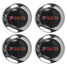 1967-69 Pontiac Chrome Center Cap Black Center & Red PMD Logo (4 Piece SET)