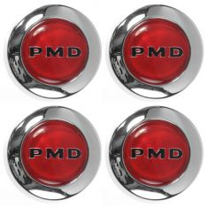 1970-72 Pontiac Rallye 2 Wheel Center Cap w/Red Center PMD (Set of Four)