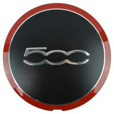 12-14 Fiat 500, 500C (exc Abarth) (w/15, 16 In Alloy Whl) ~500~ Logoed Red Line Center Cap (Fiat)