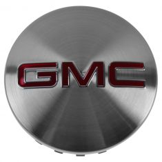 14-15 GMC Sierra 1500; 15 Yukon, Yukon XL Brushed Aluminum w/Red ~GMC~ Logoed Wheel Center Cap (GM)