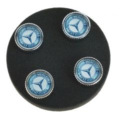 Mercedes Benz Multifit MB Star w/Blue Laurel Wreath Tire Valve Stem Cap (Set of 4) (Mercedes Benz)