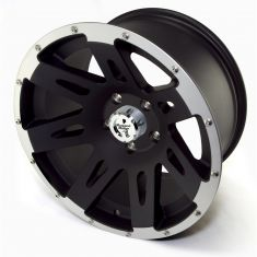 XHD Aluminum Wheel, Black with Machined Lip, 17 inch X 9 inches