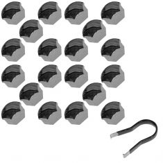 01-06 S60; 99-06 S80; 01-07 V70; 00-07 XC70; 03-12 XC90 Chrm Lug Bolt Cover Pack (Set of 20) (Volvo)