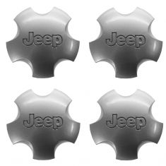 01-04 Jeep Grand Cherokee (w/Wheel Code WFK) Domed 5 Inch Silver Center Cap SET of 4 (Mopar)