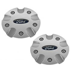 00-01 Focus (w/15 x 6, 10 Spoke (5 Doubles) Alum Wheel) Silver Sparkle Center Cap w/Oval PAIR (Ford)