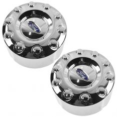 05-12 Ford F450SD, F550SD (w/19.5 Inch Whl) ~Ford~ Logoed Rear Wheel Chrme Hubcap Cover PAIR (FD)