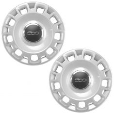 12-16 Fiat 500 Silver, Chrome, & Black w/~500~ Logoed Wheel Cover PAIR (Fiat)