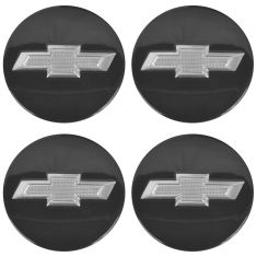 13 Camaro Conv; 10-15 Camaro Cpe; 12-15 Volt Black w/Silver Bowtie Logo Wheel Center Cap Set (GM)