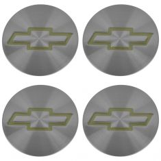 95-05 S10 Blzr; 95-04 S10 w/4WD Gold ~Bowtie~ Logo Brushed Aluminum Center Cap Set of 4 (GM)