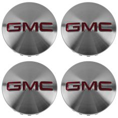 14-15 GMC Sierra 1500; 15 Yukon, XL Brush Aluminum w/Red GMC Logo Wheel Center Cap (Set of 4) (GM)