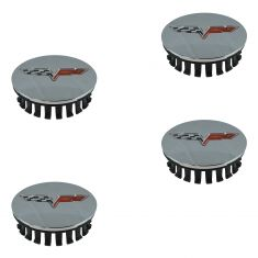 08-13 Chevy C6 Corvette Chrome Center Cap w/Crossed Flags Logo (Set of 4) (GM)