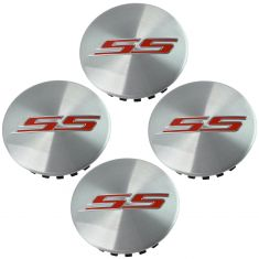 16-17 Chevy Camaro SS Brushed Aluminum w/Red ~SS~ Logoed Wheel Center Cap Kit (Set of 4) (GM)