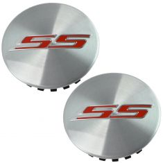 16-17 Chevy Camaro SS Brushed Aluminum w/Red ~SS~ Logoed Wheel Center Cap Pair(GM)