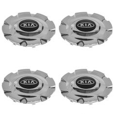 04-06 Kia Magentis, Optima (w/16inch, 8 Spoke AL Whl) Chrome ~Kia~ Logoed Whl Hub Cntr Cap Set of 4