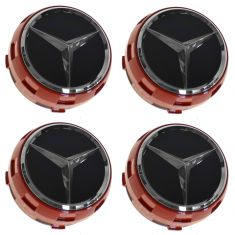 90-14 Mercedes Benz C CL CLA CLS E G ML GL Raised Ember Red/Black Center Cap Set of 4 (MB)